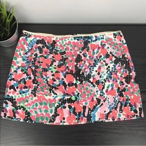 Lilly Pulitzer floral sequins mini skirt size 2